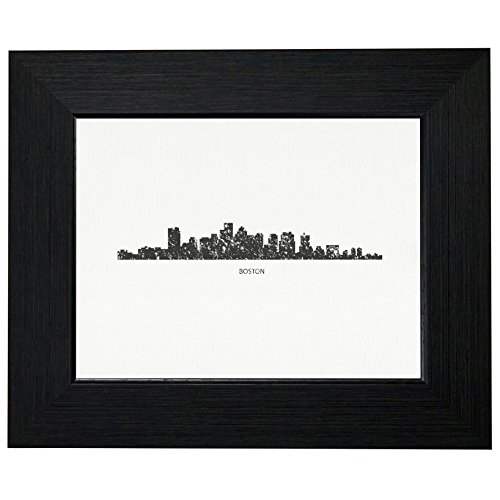 Boston Skyline Distressed Graphic Framed Print Poster Wall or Desk Mount Options