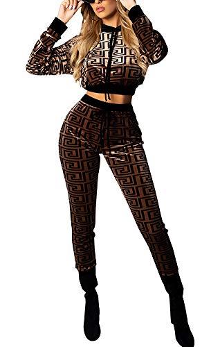 Women Two Piece Outfits - Long Sleeve Fall Sweatsuit Velvet Crop Hoodie Sweatpants Jogging Set, 5 brown, Small