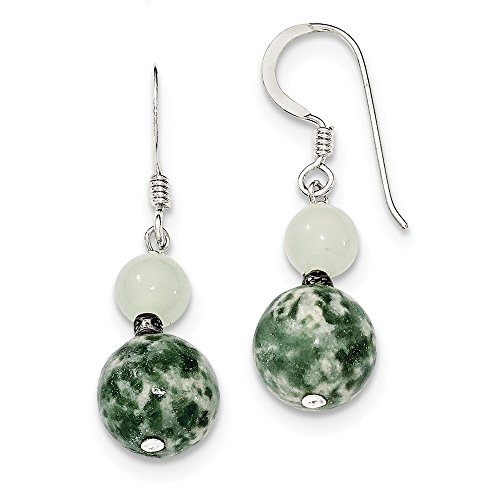 Sterling Silver Green Moss Agate and Quartz Earrings 34x10 mm ()