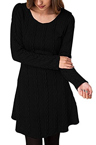 Sweater Manches de A Robe Tricot Mince Jumper Pull Line Over Haut Automne Robe Tunique Blouse Casual Longues Tricot Robe Noir Femme Cocktail Mini BienBien Pull Party Hiver OIvqxZCI