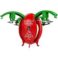 Nesee Christmas Gift 2.4G Foldable Christmas Egg Drone 0.3MP Camera WIFI FPV RC Quadcopter HD Selfie (Red)
