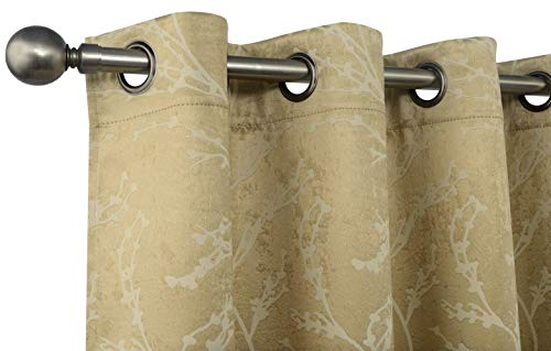 GoodGram 2 Pack Arbor Floral Chic Heavy Duty Thermal Blackout Curtain Panels - Assorted Colors (Arbor Gold/Taupe) (2 Gold Panels Curtains)