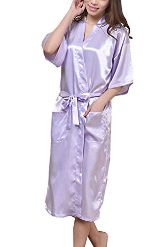 Nozze Colori Vestaglia da Sleepwear da donna Huateng Abito Satin notte notte Kenn Kimono damigella sposa 8 da 3XL Camicia Abito da Camicia d'onore Per Lunghezza Rayon Viola Abito Satin Accappatoio Chiaro S wwqvI8xp
