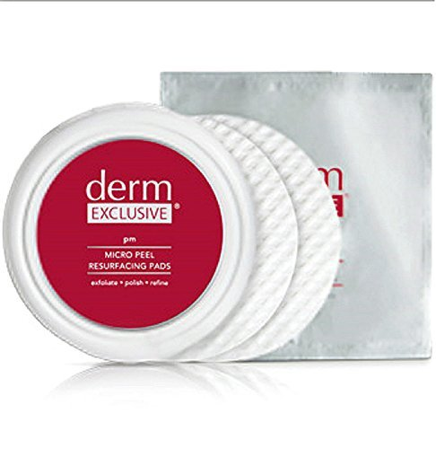 Derm Exclusive Micro Peel Resurfacing Pads. 3 Packs Of 15 Pads Per Pack (90 day supply). Exfoliate-Refine-Polish. Plus 1 FREE Derm Exclusive Pad Container by Derm exclusive