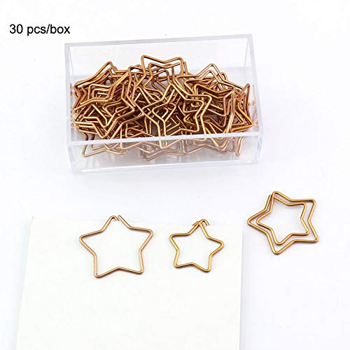 OUTU 30Pcs/ Box Star Rose Gold Color Plastic Shape Paper Clips Funny Bookmark Marking Clips H0029 (Plastic Star)