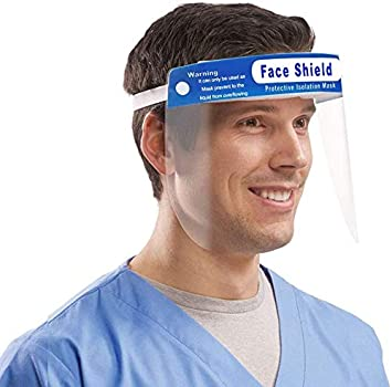 Adjustable Face Shield Protect Eyes and Face, Clear Open Face Shield Film Elastic Band and Comfort Sponge (5pcs)