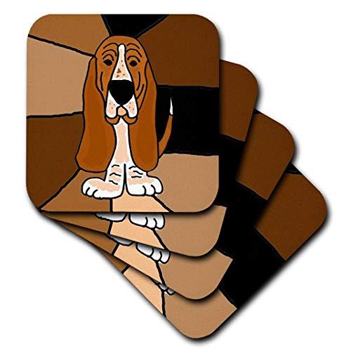 - 3dRose cst_195224_3 Funny Basset Hound Puppy Dog Art-Ceramic Tile Coasters, Set of 4