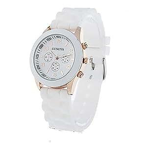 Unisex Geneva Silicone Jelly Gel Quartz Analog Sports Wrist Watch (White)