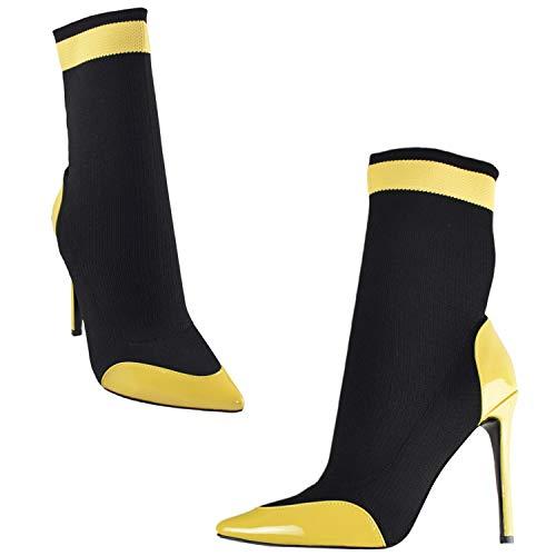 ViVi Women Yellow High Heel Pointed Fashion Sexy Mid Calf Boots Girls (Boot Heel Womens High Snakeskin)