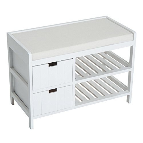 HOMCOM Compact Rustic Padded Wooden Shoe Rack Bench Organizer with Drawers - Country White (White Way Bench Entry)