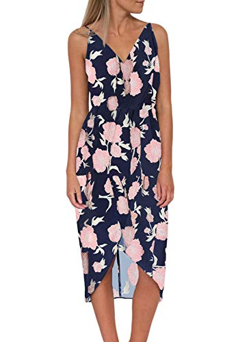 Dearlove Womens Sexy V Neck Spaghetti Strap Sleeveless Floral Print Loose Split Summer Casual Beach Wrap Maxi Dress Navy Large