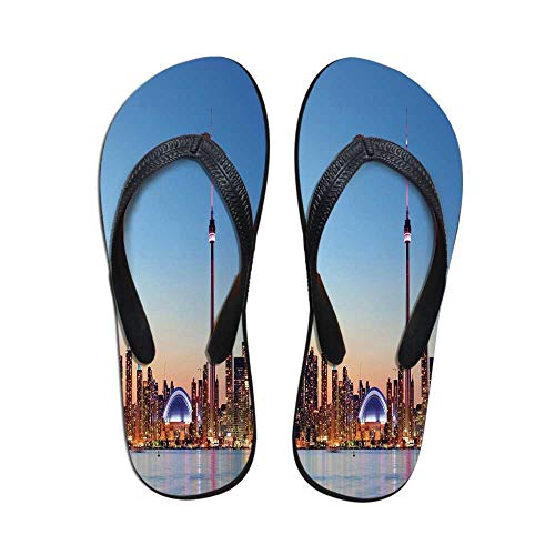 Modern Printing Flip Flops,Canadian Skyline Toronto City with Lake Panorama at Evening Urban Scenery Decorative for Home or Holiday,US Size 6 ()
