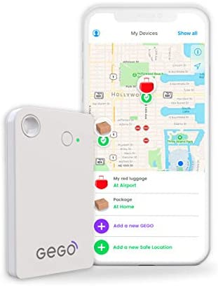 GEGO shipment Tracker – Worldwide Real Time Tracking Device – car tracker -Travel Baggage GSM Locator Better Than GPS Global 3G Bluetooth with Mobile App Airline Compliant No Roaming Charges White