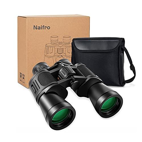 Binoculares 10x50 para adultos, prismáticos profesionales compactos a prueba de agua para observación de aves, caza, viajes, juegos de fútbol, observación de estrellas, ocular grande / lente FMC / prisma BAK4, con estuche de transporte y correa