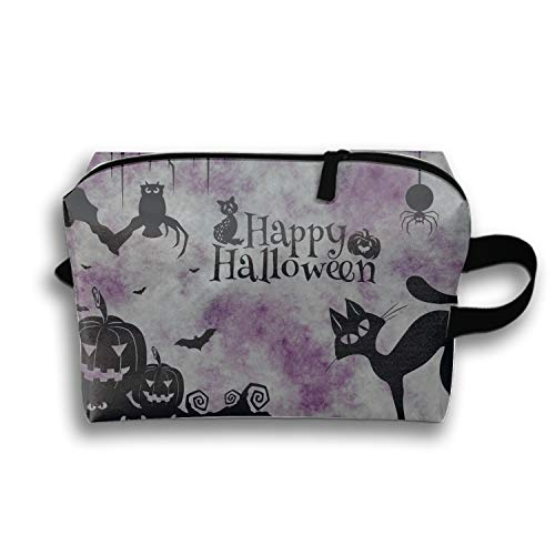 Multifunction Cosmetic Bag Happy Halloween Cat Pumkins Clipart Pouch Waterproof Travel Organizer]()