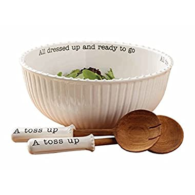 Mud Pie 4601029 Salad Bowl (Set of 3), White