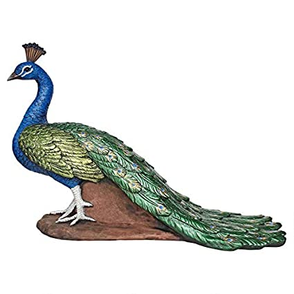 6f6b85ee19fa1 Design Toscano Regal Peacock Garden Bird Statue, Medium, 20 Inch,  Polyresin, Full Color