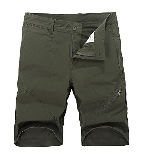 Men's Quick-Dry Khaki Lightweight Knee Length Summer Running Shorts Army Green Large