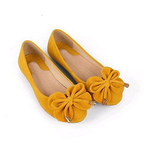 AalarDom Mujer Sin cordones Puntera Redonda Esmerilado Sólido Plano con Lazos Amarillo