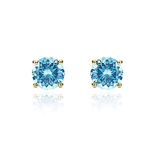 (14K Yellow Gold 3mm Round Cubic Zircornia Prong Set Solitaire Screwback Stud Earrings - Sky Blue)