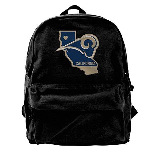 Bag St Rams Golf Louis (Super Star California Republic Flag Rams Football Canvas Shoulder Backpack Limited Edition Premium UniqueFriday Travel Backpack for Men & Women Teens College Travel Daypack Black)