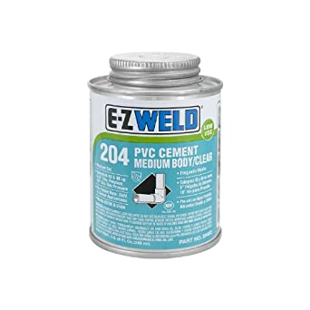 E-Z Weld 20402 Heavy Duty PVC Cement, 32 Degree F to 110 Degree F Application Temperature, 8 fl oz Can, Clear (Case of 24)