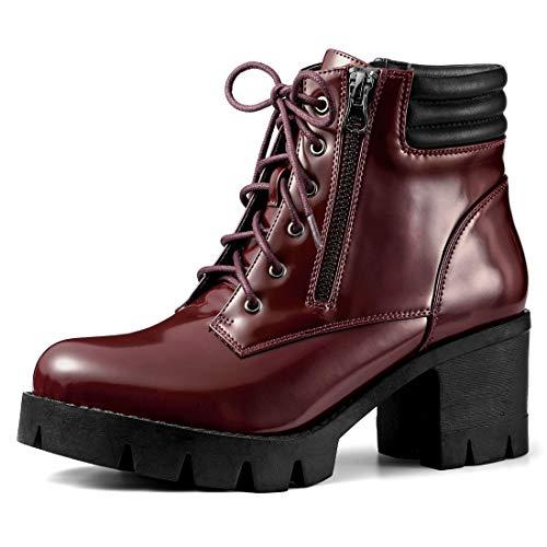 Allegra K Women's Chunky Heel Lace Up Zipper Burgundy Combat Boots - 10 M US ()