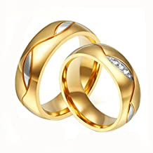 Daesar 2PCS Wedding Rings for Women and Men Rings Stainless Steel Rings Engraved Rings Gold