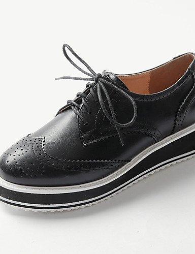 ZQ 2016 Zapatos de mujer - Plataforma - Punta Redonda / Punta Cerrada - Oxfords - Exterior / Casual - Semicuero - Negro / Blanco , white-us8.5 / eu39 / uk6.5 / cn40 , white-us8.5 / eu39 / uk6.5 / cn40 black-us8 / eu39 / uk6 / cn39