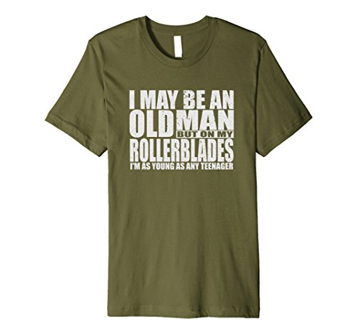 Mens An Old Man On Rollerblades T-shirt Funky 40th Birthday Gift XL Olive