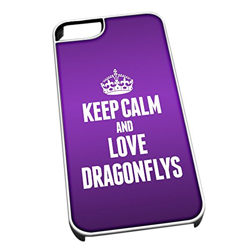 Bianco cover per iPhone 5/5S 2421 viola Keep Calm and Love libellule