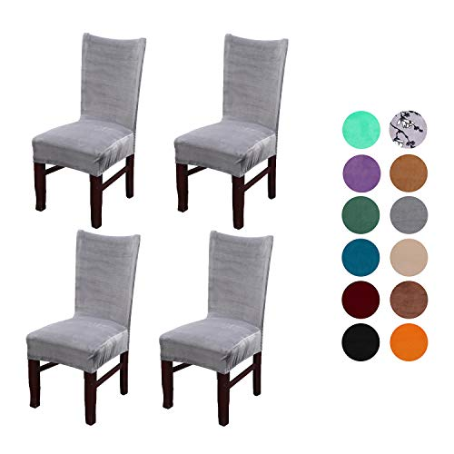 Velvet Spandex Stretch Dining Room Chair Cover, Removable Chair Slipcovers Set of 4(light gray)