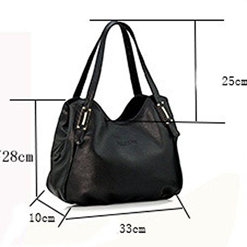 Large Of Vintage Capacity Capacity Leather Handbags Darkblue Soft Large Women Casual The Handbags Shoulder BxqZY
