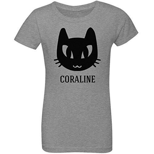 Girls Cute Cat Halloween Coraline: Youth Girls Princess T-Shirt Heather -