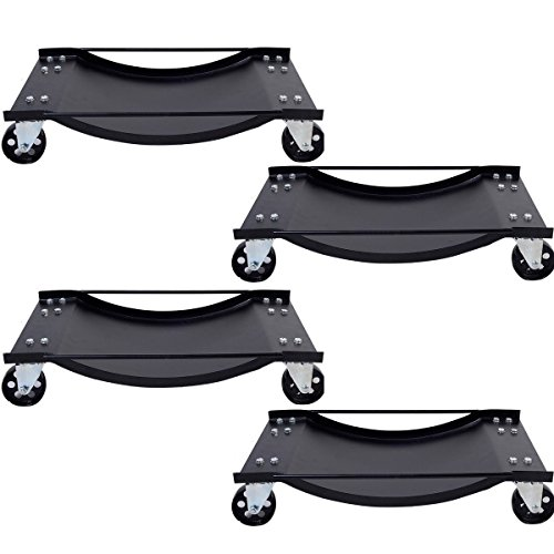 Made of HD Steel Durable and Firm, Load Capacity Up to 1,000 Lbs Each, 4 Pcs Set Tire Wheel Dollies Dolly Vehicle Car Auto Tire Skate, Suitable for Workshop Tool Collection and Garage Use (Best Dslr For 1000 Pounds)