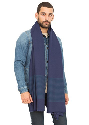 likemary Mens Merino Wool Blanket Scarf Oversize Muffler & Travel Wrap Handwoven in Twill with Stripes 100 x 200cm Atlantic Blue
