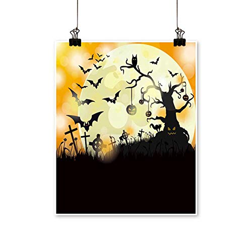 Single Painting Halloween Flyer Design with Big Moon Eps Vector File. Office Decorations,20