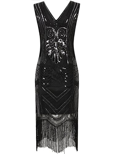 Vijiv Vintage 1920s Gatsby Cocktail Sequin Art Deco Flapper Party Evening dress,Black,Large -