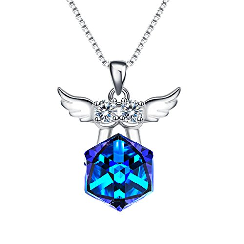EleQueen 925 Sterling Silver Square Zodiac 12 Constellation Sign Pendant Necklace Blue Made Swarovski Crystals