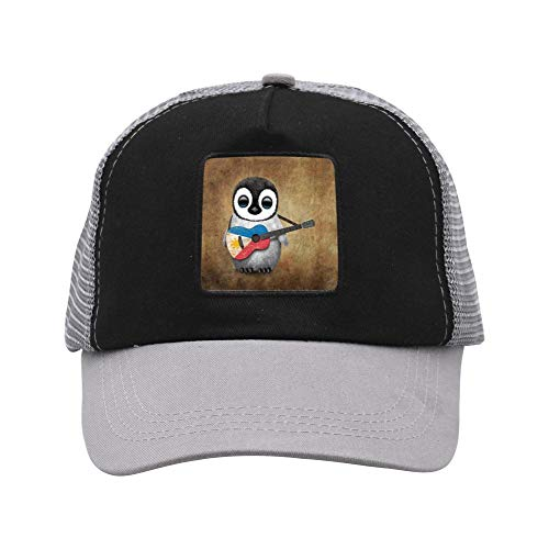 666YES Baby Penguin Playing Canadian Flag Acoustic Guitar Unisex Casual Mesh Cap,Baseball Cap Gray