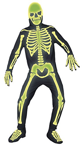 Smiffy's Men's Graveyard Bones Costume, Jumpsuit, Hood, Gloves and Boot covers, Gothic Manor, Halloween, Plus Size XL, (Glow In The Dark Skeleton Suit)