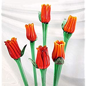 AFT Glass Flowers Tulip Bouquet 19 Inch Set of 6 102