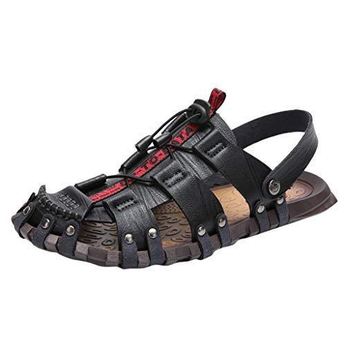 Men's Summer Roman Gladiator Sandals, Water Beach Leather Flat Shoes Rivet Ergonomic Hiking Offroad Outdoor Slippers (Black, 11) -