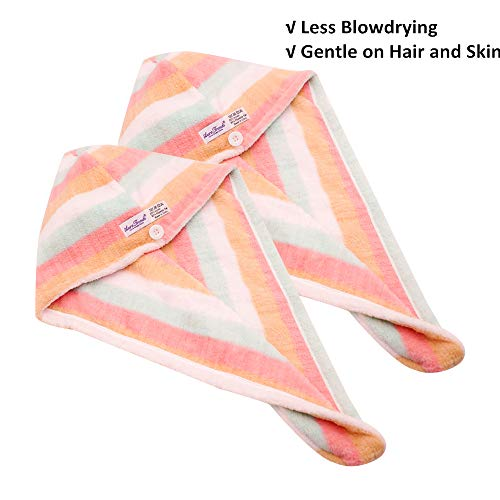 AuroTrends® Microfiber Hair Turban Wrap 2 Pack,Quick Dry Hair Towel Wrap Turban- Super Absorbent,Unique Design,2 Pack (Rainbow)