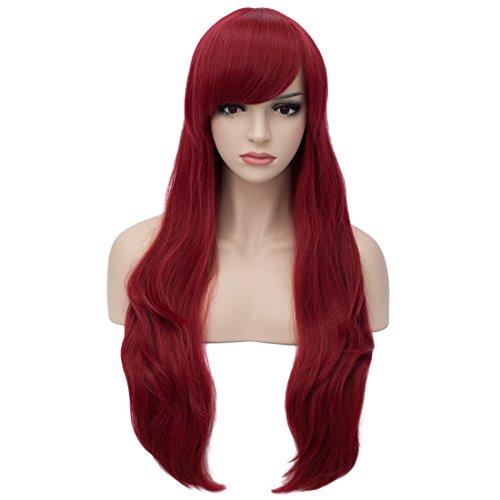 (Aosler Women's Wine Red Long Wig,26