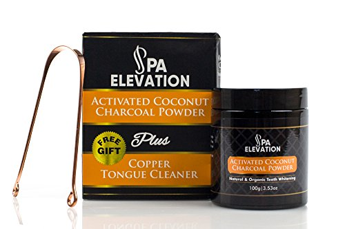Activated Coconut Charcoal Powder By Spa Elevation: Natural Teeth Whitening Powder - Instant Dental Care Remedy For Brighter, Cleaner, Healthier Teeth & Gums - Free Gift A Copper Tongue - And Smoke Origin Mirrors