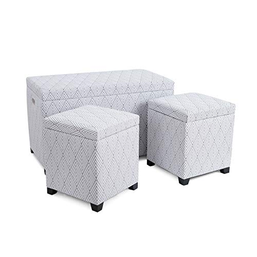 - Adeco 3 Pieces Fabric Rhombus Arrow Pattern Rectangular Ottoman Storage Bench Foot Rest and Seat