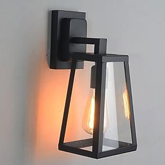 Antique Matte Black Lantern Outdoor Wall Sconce Light Fixture Indoor