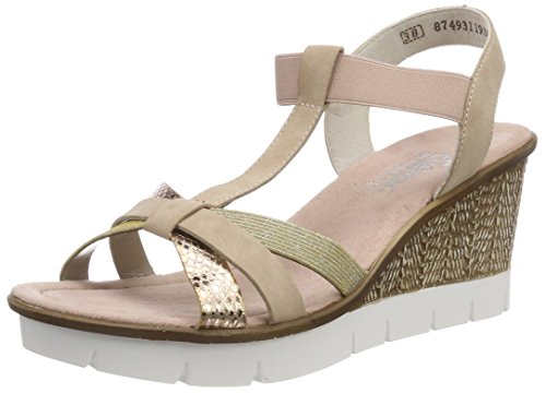 Sandals Altrosa Platform Women's Multicolour 65590 90 Rieker Lightgold Multicoloured Kupfer Fqpt0
