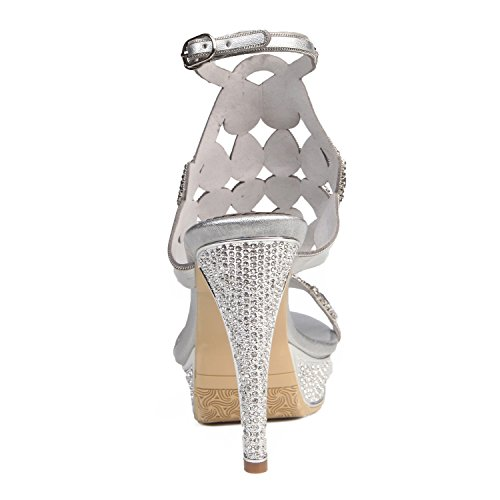 Evening Women's Silver Heel Summer Leather for amp; Dress Party Platform Silver Shoes 37 Stiletto Color Size 1wv1qTr
